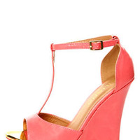 Mortimer 22 Coral and Gold T-Strap Peep Toe Wedge Sandals