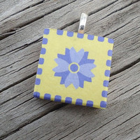 Bright Yellow and Lavender Scrabble Style Pendant