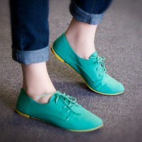 Qupid Lace Up Two Tone Oxford Flat (Sea Green) - Shoes 4 U Las Vegas