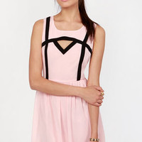 Peek of the Week Pink and Black Cutout Dress