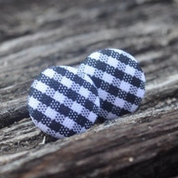 Black and white plaid button earrings