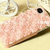 pearl iPhone cover, flower iPhone 5 case, iPhone 5 cover with pink lace, iPhone 4s case with rose, handmade iPhone 4 cases,