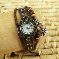 Handmade Leather Strap Bracelet Watch with a Snowflake Pendant