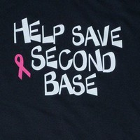 mens shirt Breast Cancer Awareness Help Save 2nd Base
