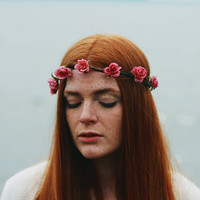 Echoes - Flower Crown / Floral Crown / Flower Halo / Flower Headband / Festival Wear / Pink Roses / Rosettes