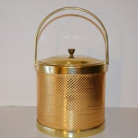 Vintage Mid Century Barware Ice Bucket Gold and Copper Hollywood Regency Ice Bucket Made in Italy