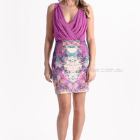 kuku heart decides dress - purple/green at Esther Boutique