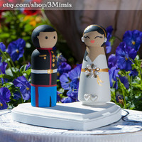 Custom Wooden Dolls Wedding Cake Toppers Wooden Peg People Anniversary Gift