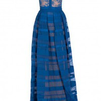 Boutique 1 - ELIE SAAB - Blue  Lace And Stripe Skirt Gown | Boutique1.com