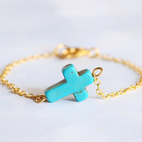 Sideways Cross Bracelet - Turquoise and Gold