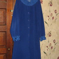 1970s mod   Vanity Fair  royal blue and satin ladies robe lounger sz med