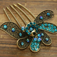 Gold Plated Teal Blue Rhinestone Peacock Hair Comb