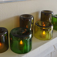 LED Tea Light Candle Holders Lamps Lanterns made from Upcycled Wine Bottles Set of 7