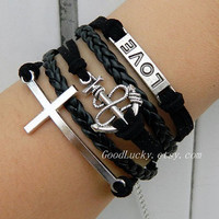 Cross bracelet,anchor bracelet,LOVE bracelet,black wax rope and leather braided bracelet,silver charm bracelet,lovely gifts