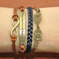 Infinity ,bronze Two owls charm bracelet ,leather and cotton ropes cuff bracelet ,bronze infinity bracelet ,friendship bracelet gifts d-325