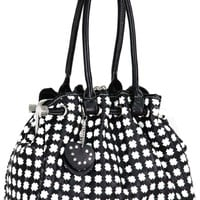 Timeless Chic Black / White Cross Woven Weave Kiss Clasp Framed Leatherette Satchel Hobo Shoulder Bag Handbag Purse