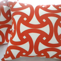 Designer  Trina Turk Santorini in Persimmon Orange and white pillow cover 18 x 18