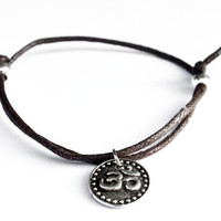Om Bracelet Antiqued Silver Charm Waxed Cotton