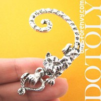 3D Cute Tiger Lion Cat Animal Wrap Ear Cuff in Silver