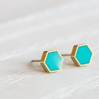 Mini Hexagon Post Earrings in Teal - Hypoallergenic Studs