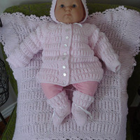 Ready to ship/ Handmade Hand Knitted PINK Shalom Cardigan 4PC New Born Baby Sweater/Cardigan-Booties-Bonnet-Blanket /For A Girl