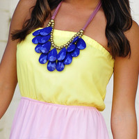 Teardrop Bib Necklace: Navy Blue | Hope&#x27;s