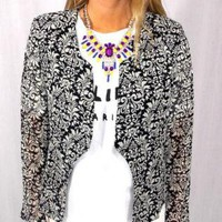 Black & White Printed Blazer with Padded Shoulders