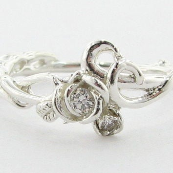 Wexford Jewelers | our passion is design >> Silver Rose Garden Ring with Diamonds