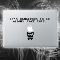 Its dangerous to go alone zelda inspired macbook decal