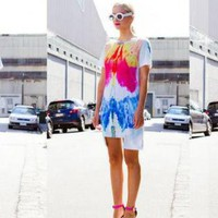 White Hi-Low Short Sleeve Tunic with Bright Print