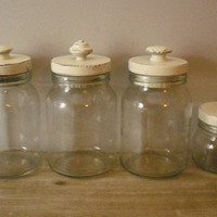 4 shabby chic white painted  wooden top jars  by MamaLisasCottage