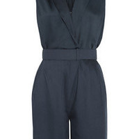 Halston Heritage | Belted washed-satin playsuit | NET-A-PORTER.COM