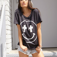 Mineral Wash Happy Face Tee Forever 21
