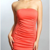 The Milan Coral Strapless Dress - 29 N Under