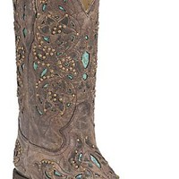 Corral® Ladies Distressed Brown w/ Turquoise Inlay & Bronze Studs Square Toe Western Boots