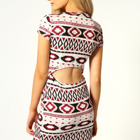 Lulu Cap Sleeve Open Back Geo Print Bodycon Dress