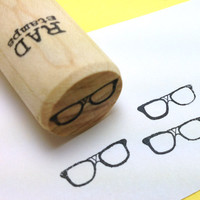 Geeky taped Nerd Glasses Rubber Stamp