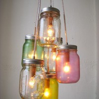 Mason Jar Chandelier Mason Jar Light Easter Pastels by BootsNGus