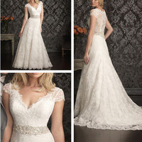Modest cap Sleeves white/ivory lace Wedding Dress Bridal Wedding Gowns custom
