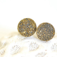 Gold Titanium Druzy Ear Posts