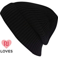 Black rolled up ribbed beanie - hats - accessories - women
