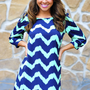Everything Is A Blue Chevron Dress | Hope's