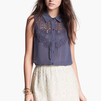Chloe K Lace Bib Sleeveless Shirt (Juniors) | Nordstrom