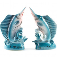 Florida Swordfish Salt and Pepper Shakers Nautical Beach Fishing / Vintage 70s