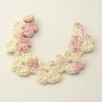 Pink White Crochet Flower Bracelet, Jewelry, Eco Friendly