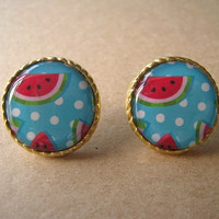 Earrings Studs Watermelon by Bitsofbling on Etsy