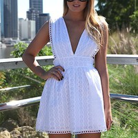 White Eyelet Embroider Dress with Plunging V-Neck & Back