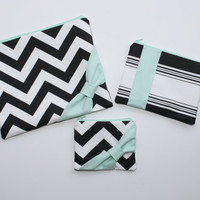 Cosmetic Cases / Makeup Bag Set - Black and White Chevron with Mint Colorblock Accents