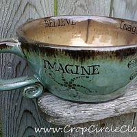 Handmade Personalized Soup Mug with Crop Circles by CropCircleClay