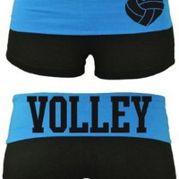 Juniors Two Tone Fold Over Volleyball Cotton Spandex Shorts Pink or Turquoise:Amazon:Clothing
